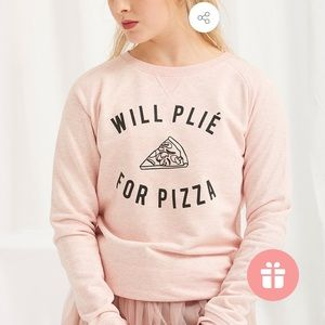 cloud&victory Sweaters - CLOUD&VICTORY WILL PLIÉ FOR PIZZA PINK SWEATSHIRT